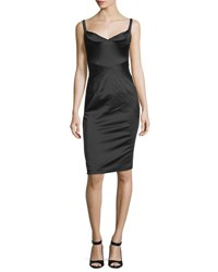 Zac Posen Fitted Stretch Satin Cocktail Dress Black