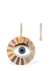 Apm Monaco Asymmetric Multicolor Lucky Eye Earrings Gold