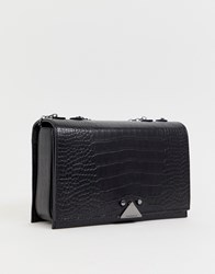 Emporio Armani Real Leather Small Shoulder Bag With Chain Black