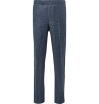 Richard James Blue Slim Fit Slub Wool And Linen Blend Puppytooth Suit Trousers Navy