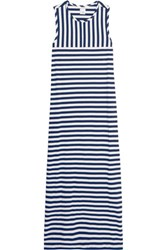 Iris And Ink Striped Cotton Maxi Dress Navy