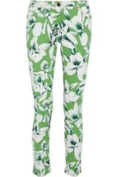 Etro Woman Floral Print Mid Rise Skinny Jeans White