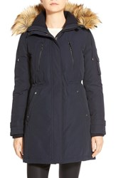 Women's Vince Camuto Faux Fur Trim Down And Feather Fill Parka Navy