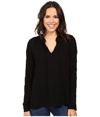 B Collection By Bobeau Amelia Tie Neck Woven Blouse Black Women's Blouse