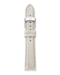 Michele 16Mm Metallic Saffiano Leather Strap Pearl