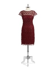 Patra Lace Capped Sleeve Dress Red