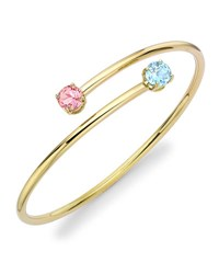 Kiki Mcdonough Eternal Blue Topaz And Pink Tourmaline Twist Bangle