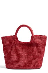 Topshop Brighty Straw Tote Bag Red