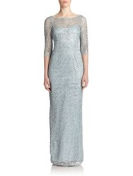 Kay Unger Beaded Lace Sheath Gown Misty Blue