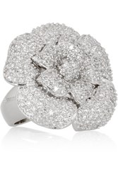 Kenneth Jay Lane Rhodium Plated Cubic Zirconia Flower Ring Silver