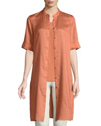 Lafayette 148 New York Randi Button Front Gemma Cloth Tunic Adobe