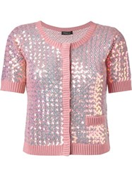 Twin Set Sequin Embellished Cardigan Pink And Purple
