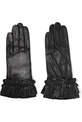 Agnelle Ruffled Leather Gloves Black