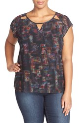 Plus Size Women's City Chic Print Sheer Strappy Back Top Black