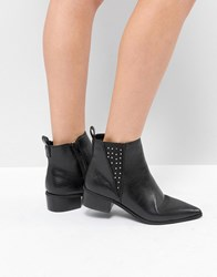 London Rebel Studded Gusset Chelsea Boot Black Pu