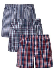John Lewis Sandbank Check Woven Cotton Boxers Pack Of 3 Red Navy