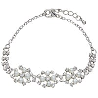 John Lewis Faux Pearl And Cubic Zirconia Bracelet Silver