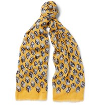 Gucci Printed Cotton Modal And Cashmere Blend Scarf Yellow