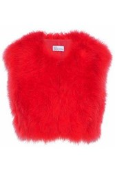 Red Valentino Cropped Feather Embellished Crepe Vest Coral