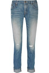 R 13 Slouch Skinny Distressed Straight Leg Jeans Blue