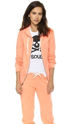 Soulcycle Heart Soul Zip Hoodie Neon Orange White