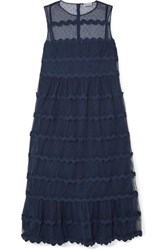 Red Valentino Redvalentino Abito Rickrack Trimmed Point D'esprit Tulle Midi Dress Navy