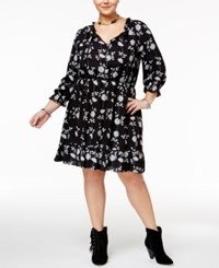 American Rag Trendy Plus Size Printed Peasant Dress Only At Macy's Classic Black Combo