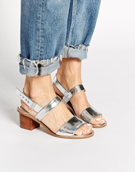 Asos Humorous Wide Fit Heeled Sandals Silver