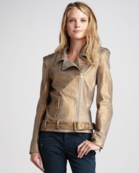 Pam And Gela Petite Snake Print Leather Jacket Women's