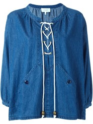 The Great Lace Up Denim Blouse Blue