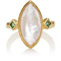 Cathy Waterman Pearl And Emerald Ring White