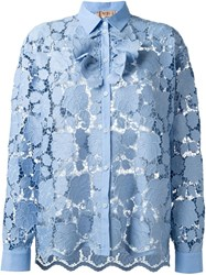 N 21 Nao21 Floral Lace Shirt Blue