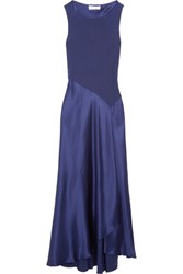 Amanda Wakeley The Asayva Silk Crepe And Silk Satin Gown Dark Purple