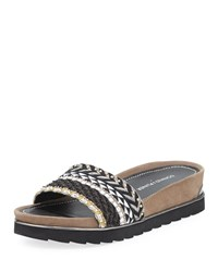 Donald J Pliner Cava Beaded Slide Sandal Black White