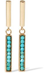 Isabel Marant Gold Tone Howlite Earrings One Size