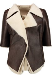 Marni Draped Shearling Jacket Dark Brown