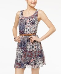 Amy Byer Bcx Juniors' Printed Belted A Line Dress Blue Combo