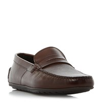 Hugo Boss Dandy Moccasin Perforated Saddle Loafers Tan