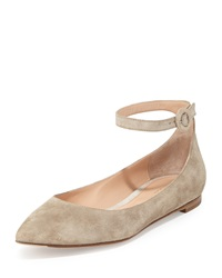 Gianvito Rossi Suede Ankle Wrap Skimmer Flat Cashmere Cachemire