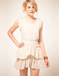 By Zoe By Zoe Silk Dress With Ruffle Skirt White