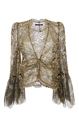 Roberto Cavalli Gold Metallic Embellished Ruched Blouse