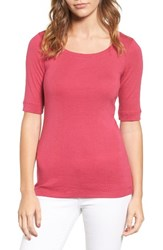 Caslonr Petite Women's Caslon Ballet Neck Cotton And Modal Knit Elbow Sleeve Tee Pink Vivacious