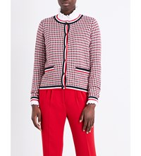 Claudie Pierlot Maxime Checked Cotton Blend Cardigan Rouge