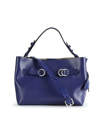 Reiss Bleecker Mini Structured Leather Tote Bag In Blue