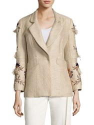 Josie Natori Multicolor Embroidered Jacket Tan