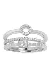 18K White Gold Plated Sterling Silver Cz Stack Ring Set Metallic