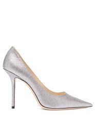 Jimmy Choo Love 100 Glittered Leather Pumps Silver Multi