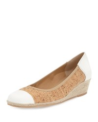 Sesto Meucci Madge Cork Demi Wedge Pump Natural White Natural Cork