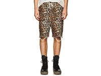 Nsf Distressed Leopard Print Cotton Sweatshorts Multi