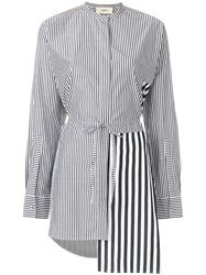 Ports 1961 Asymmetric Striped Shirt Black
